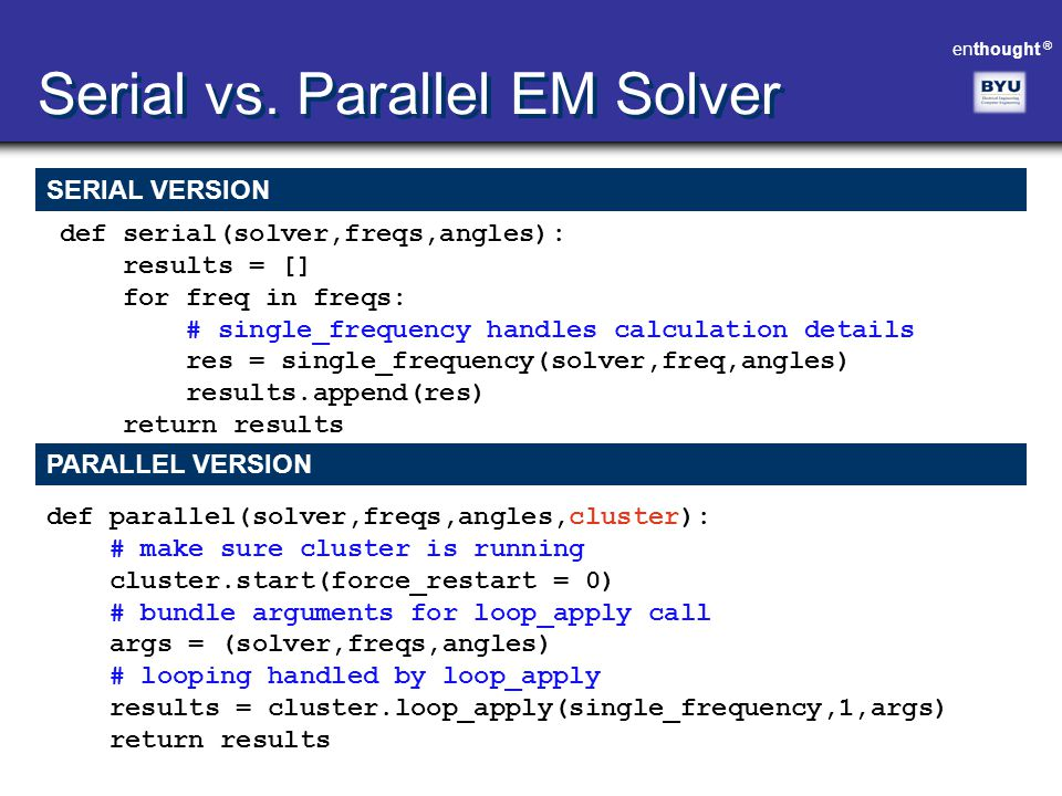 Serial vs. Parallel EM Solver