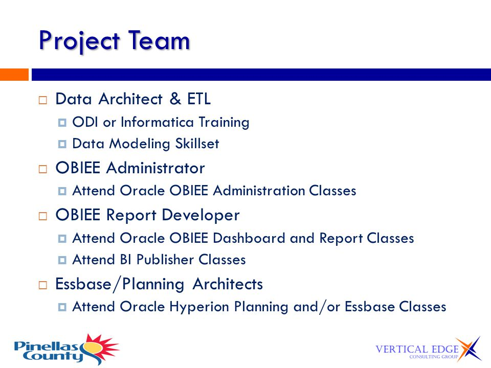 Project Team Data Architect & ETL OBIEE Administrator