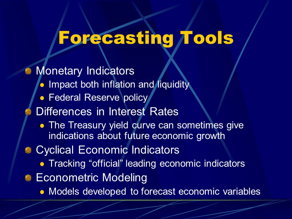 Forecasting Tools Monetary Indicators Differences in Interest Rates