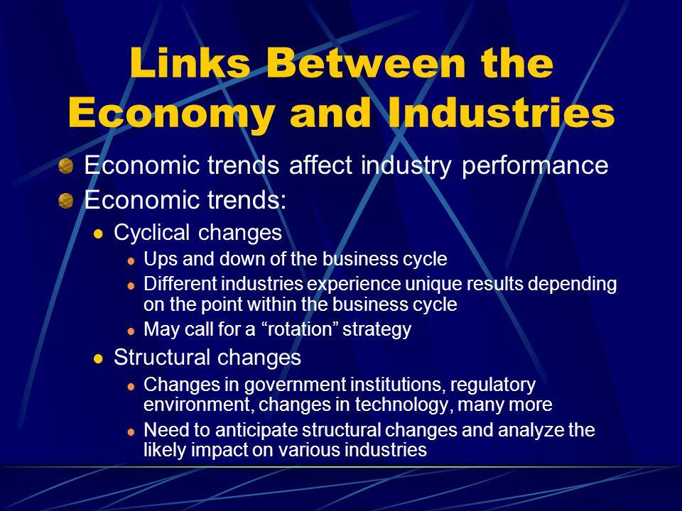 Links Between the Economy and Industries