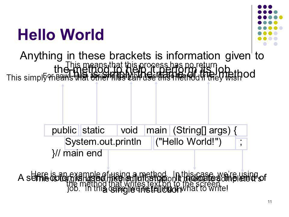 Hello World Anything in these brackets is information given to the method to help it perform its job.