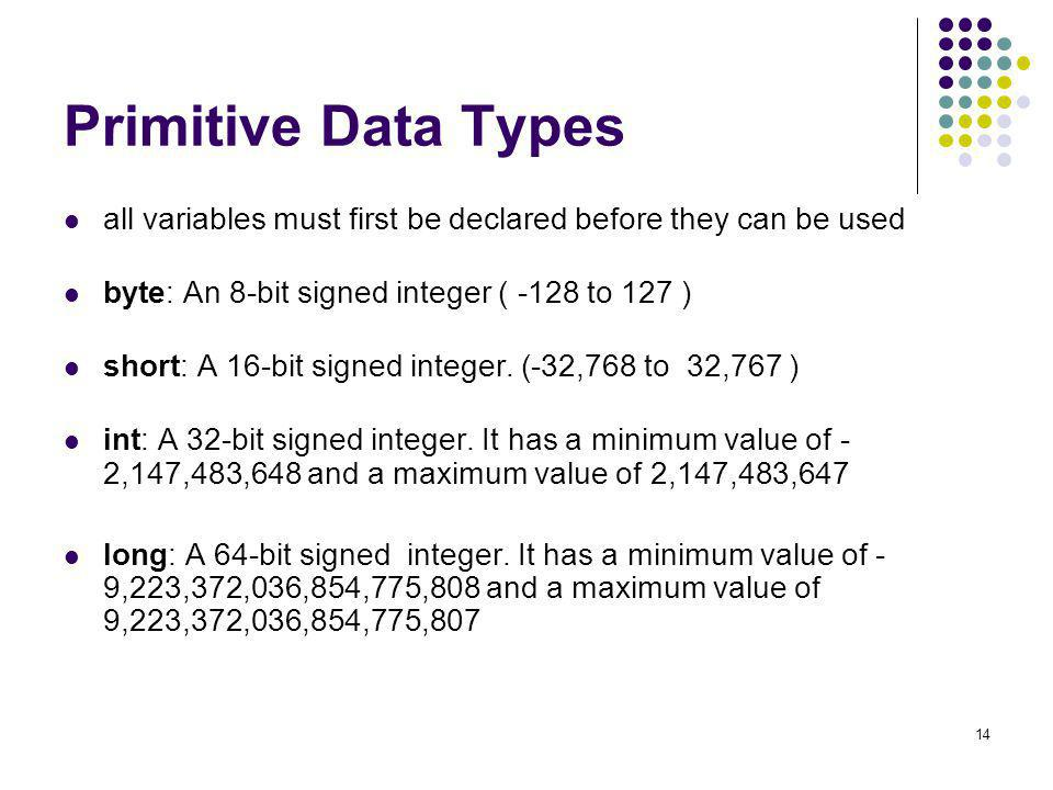 Primitive Data Types all variables must first be declared before they can be used. byte: An 8-bit signed integer ( -128 to 127 )