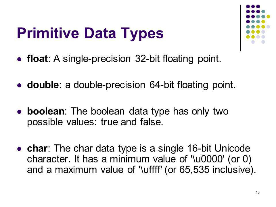Primitive Data Types float: A single-precision 32-bit floating point.