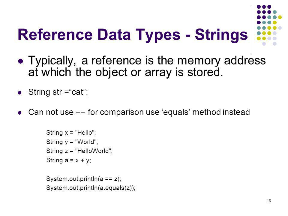 Reference Data Types - Strings