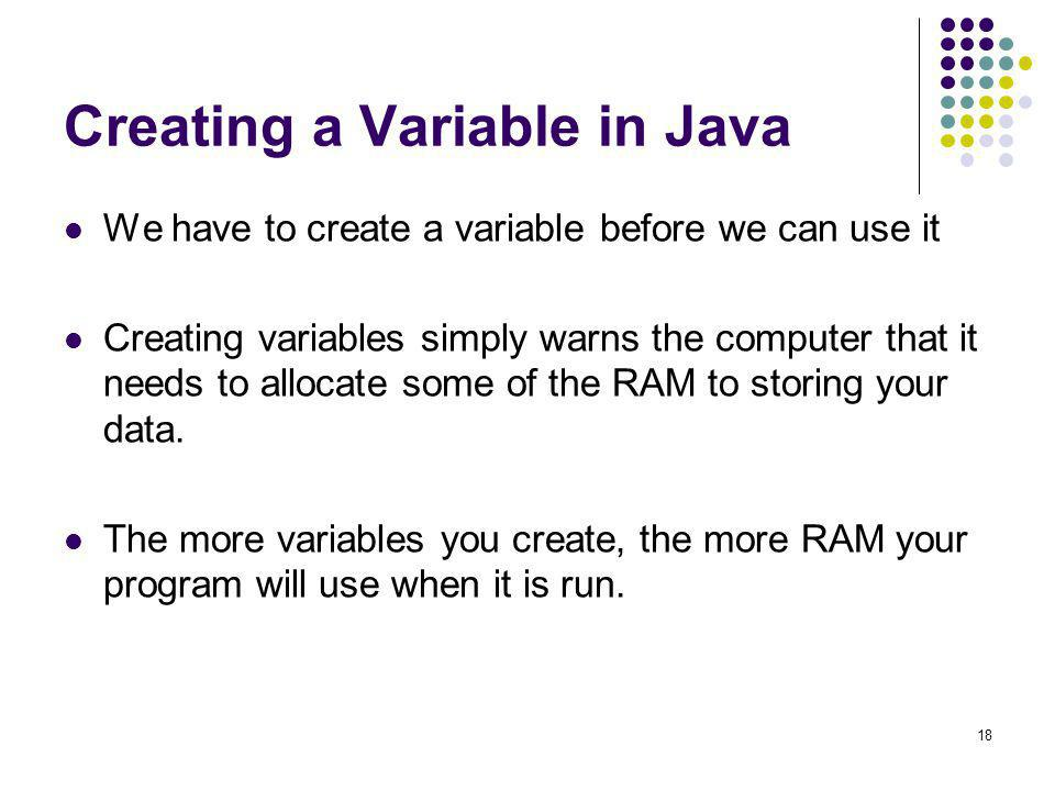 Creating a Variable in Java