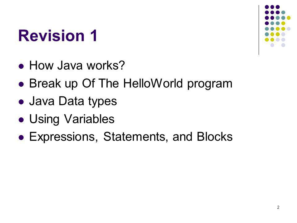 Revision 1 How Java works Break up Of The HelloWorld program