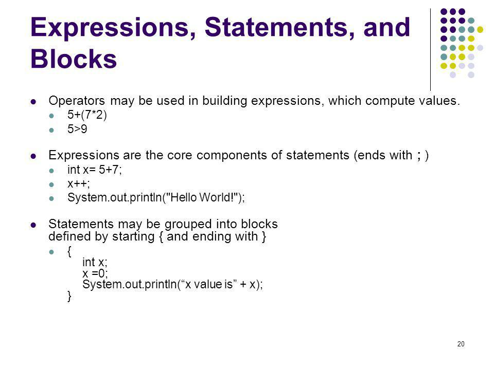 Expressions, Statements, and Blocks