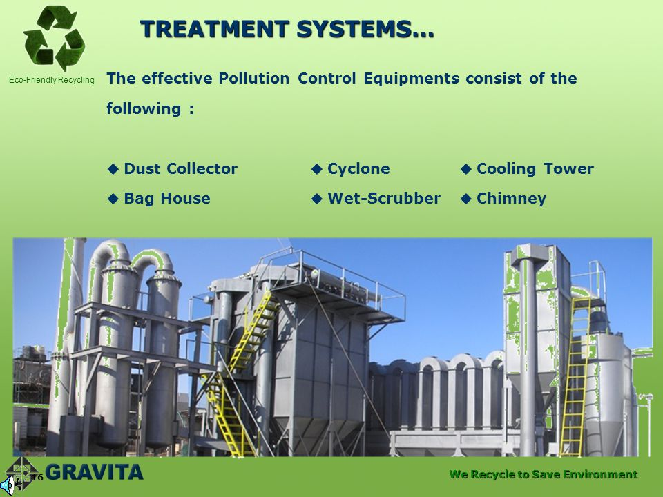 TREATMENT SYSTEMS… The effective Pollution Control Equipments consist of the. following :  Dust Collector  Cyclone  Cooling Tower.