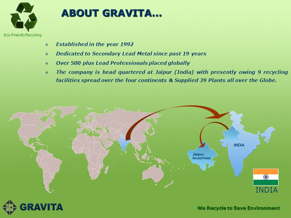 ABOUT GRAVITA… INDIA Established in the year 1992