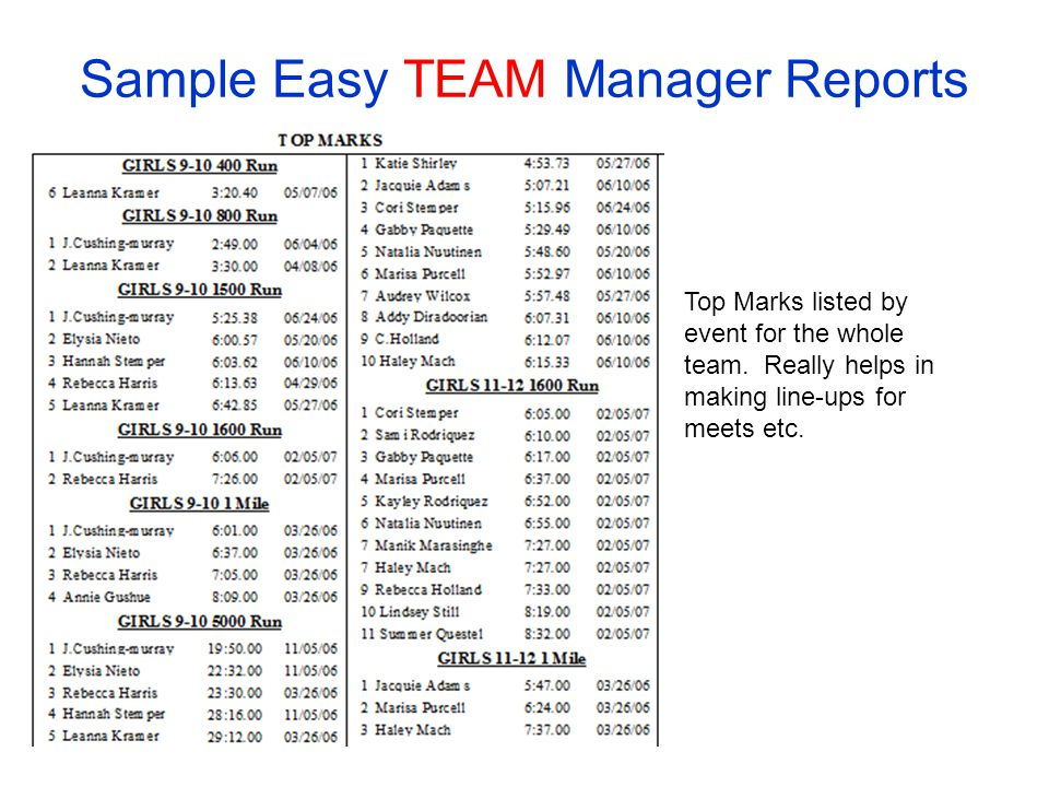 team manager meet event file