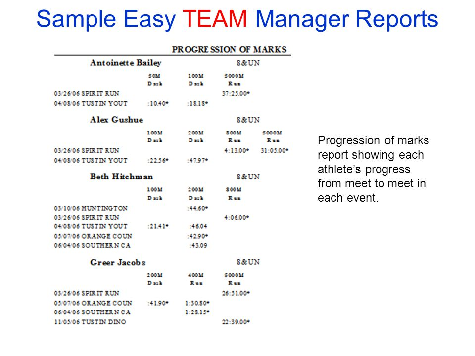 Sample Easy TEAM Manager Reports