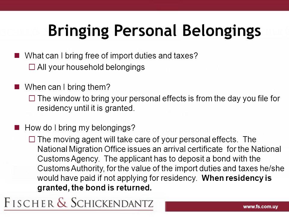 Bringing Personal Belongings