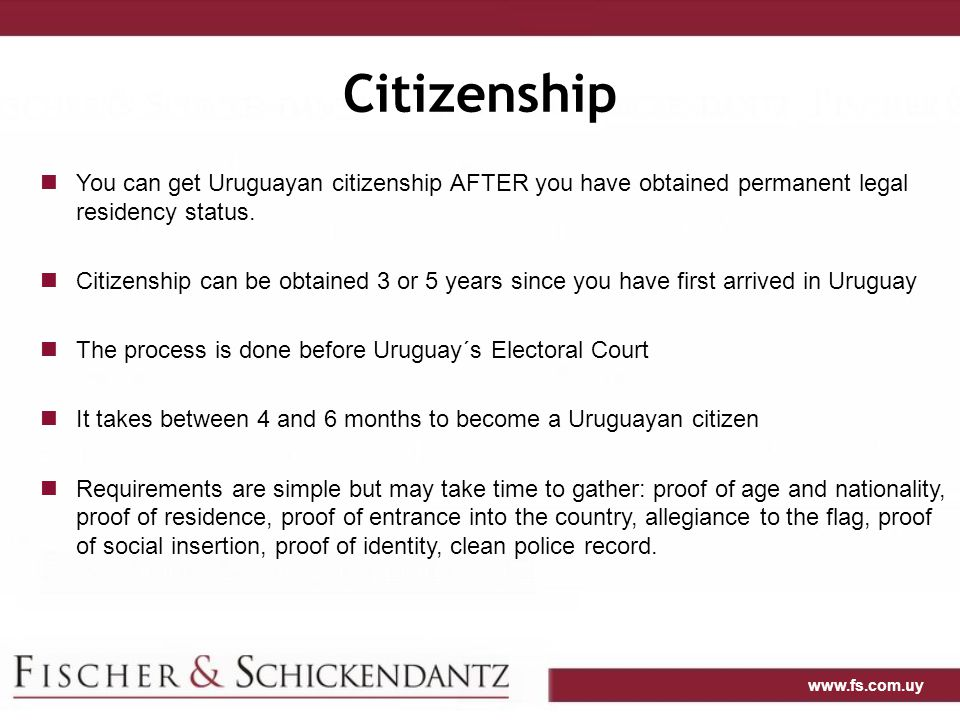 Citizenship You can get Uruguayan citizenship AFTER you have obtained permanent legal residency status.