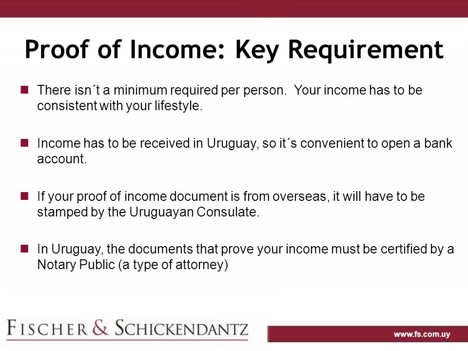 Proof of Income: Key Requirement