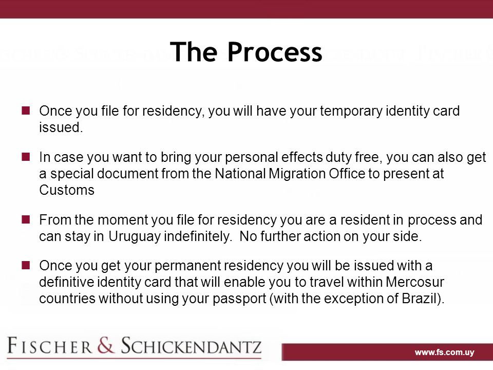 The Process Once you file for residency, you will have your temporary identity card issued.
