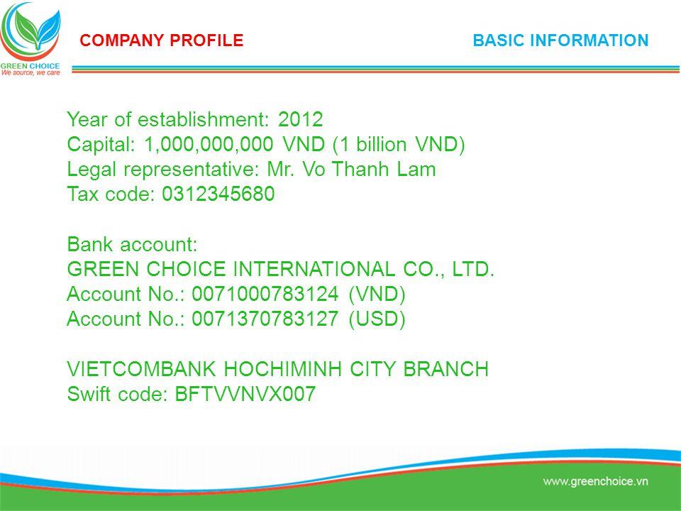 Year of establishment: 2012 Capital: 1,000,000,000 VND (1 billion VND)
