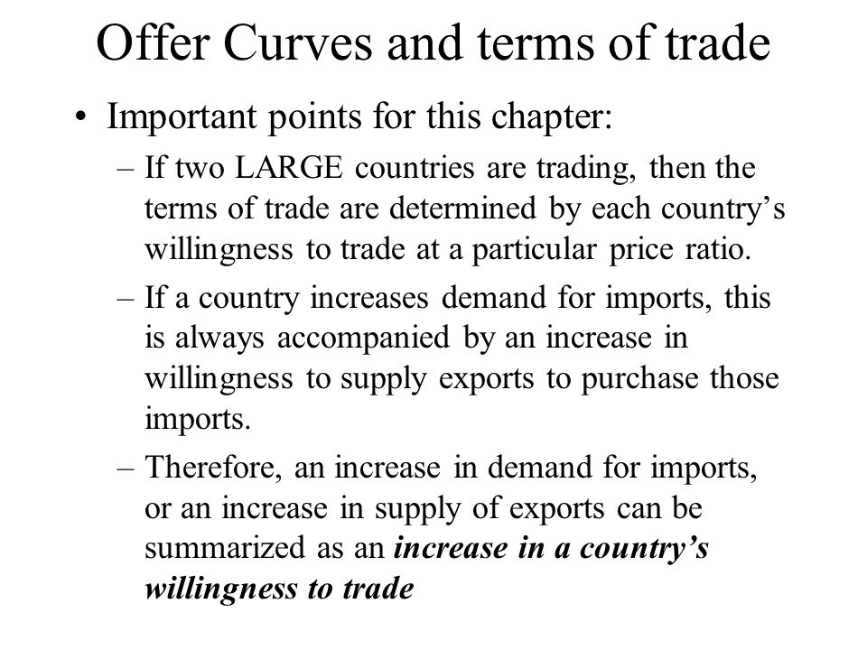 Offer Curves and terms of trade