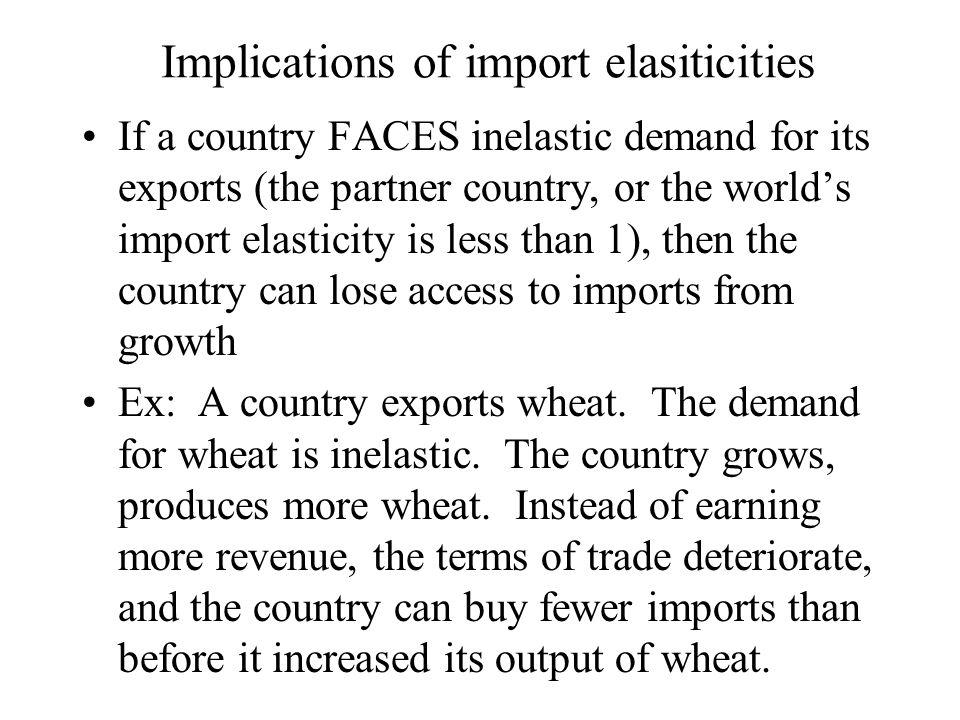 Implications of import elasiticities