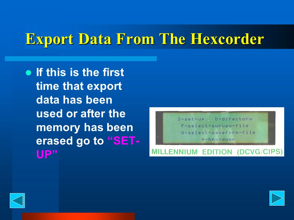 Export Data From The Hexcorder