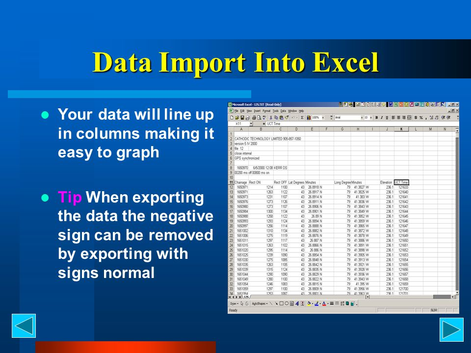 Data Import Into Excel Your data will line up in columns making it easy to graph.