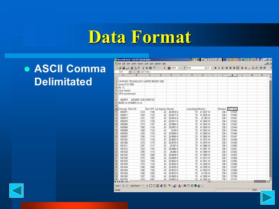 Data Format ASCII Comma Delimitated