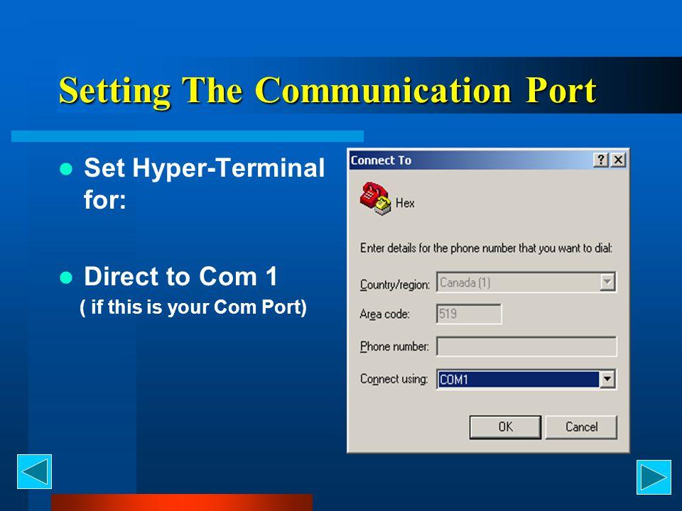 Setting The Communication Port