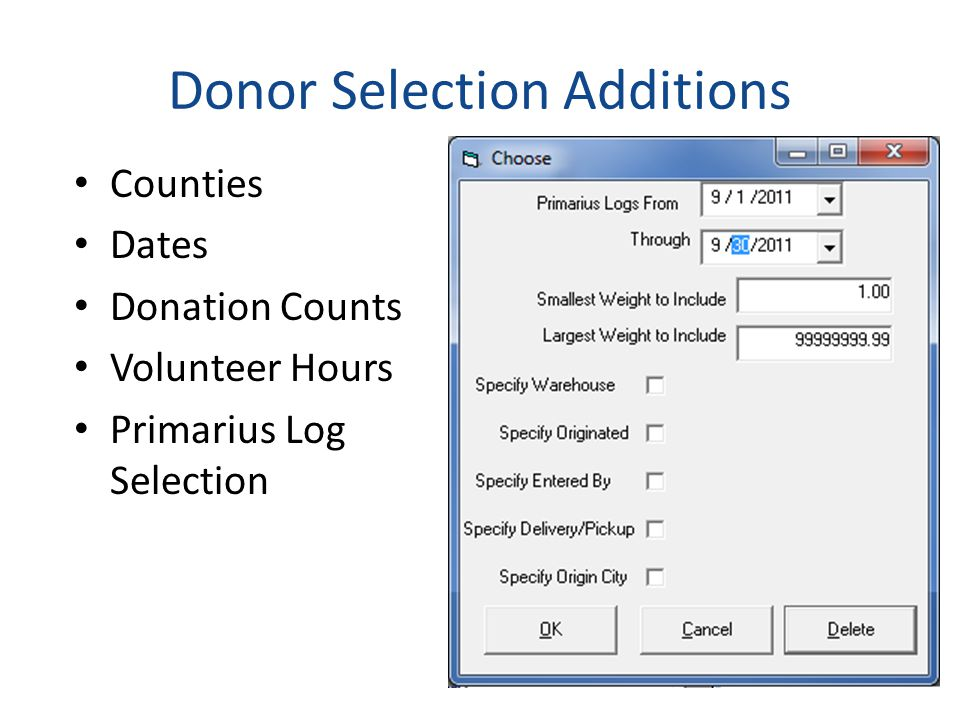 Donor Selection Additions