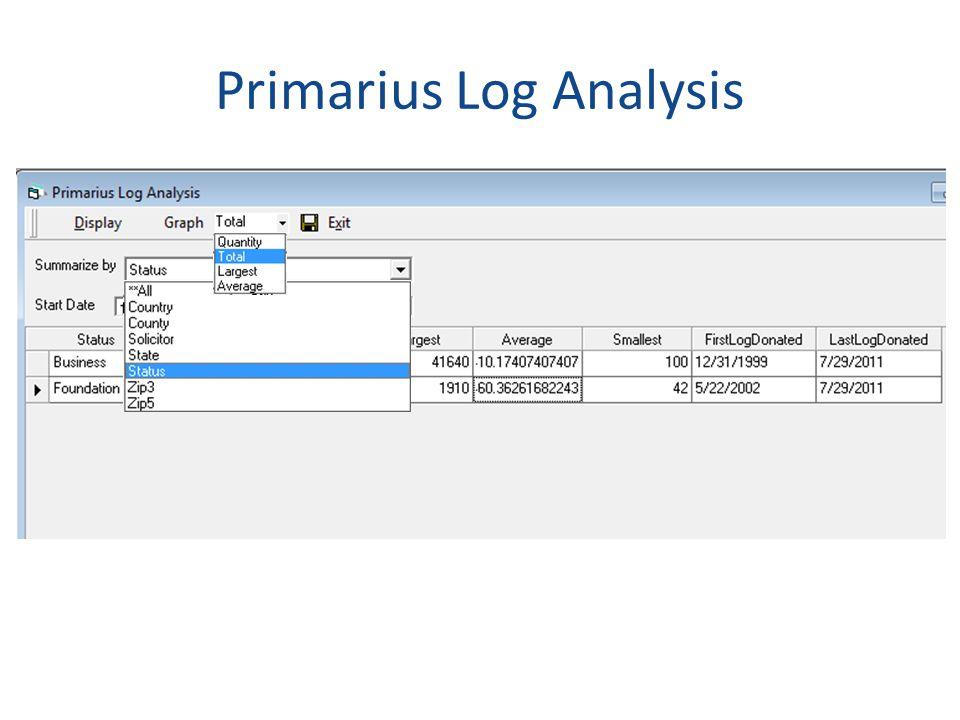 Primarius Log Analysis