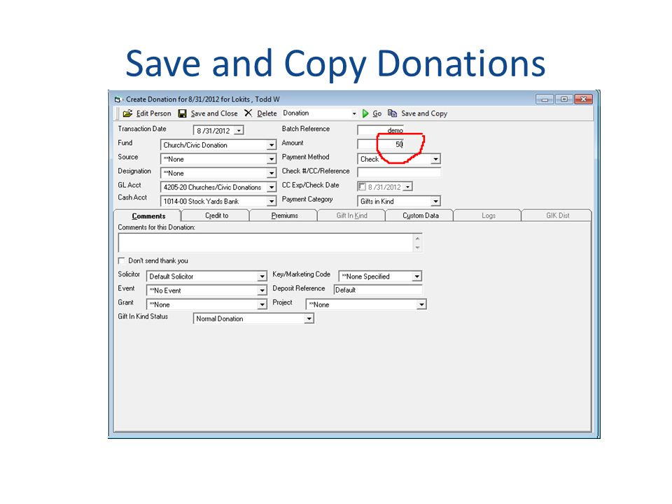 Save and Copy Donations