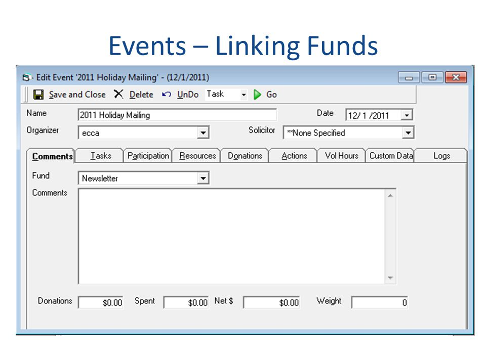 Events – Linking Funds