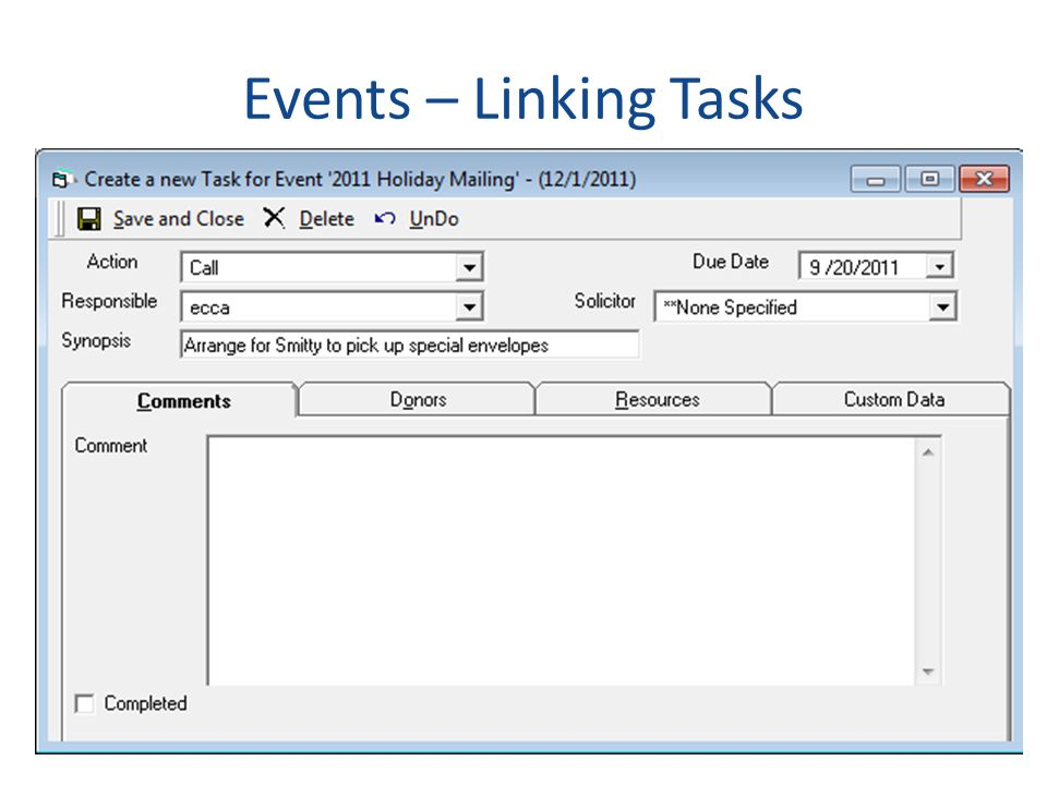 Events – Linking Tasks