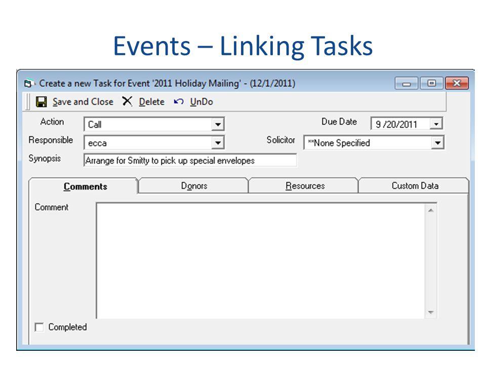 Events – Linking Tasks
