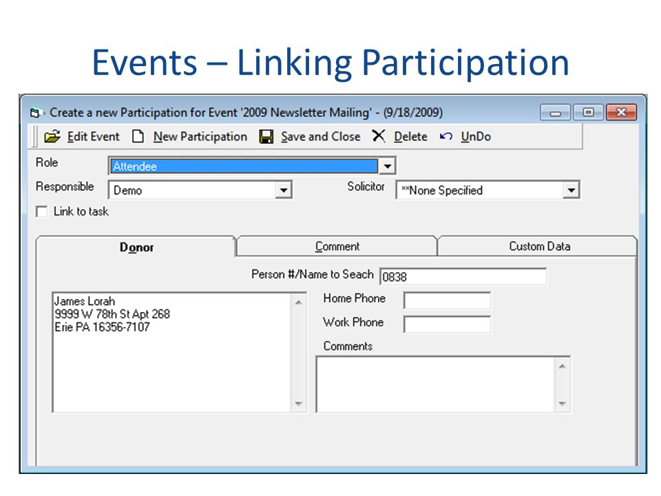 Events – Linking Participation