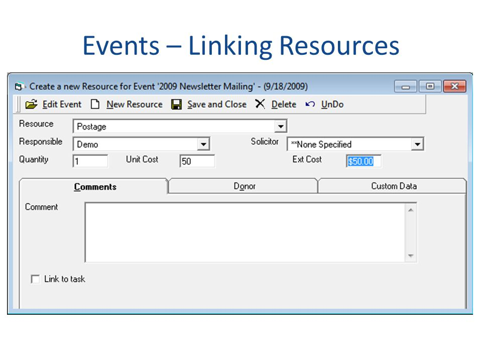 Events – Linking Resources