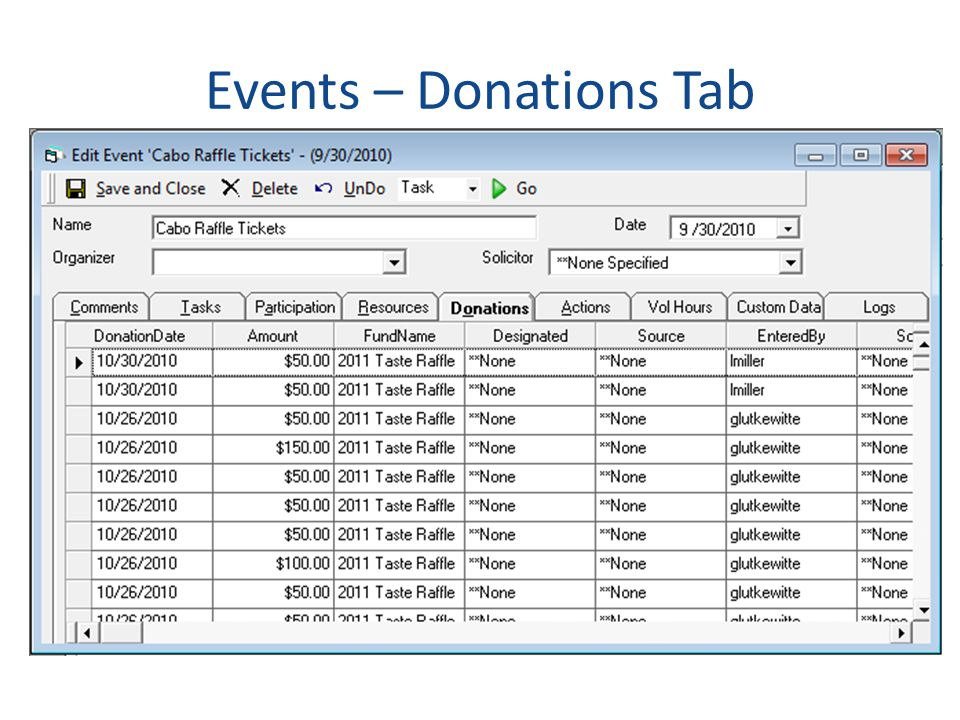 Events – Donations Tab