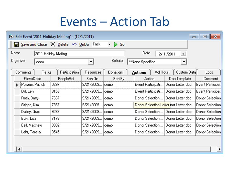 Events – Action Tab