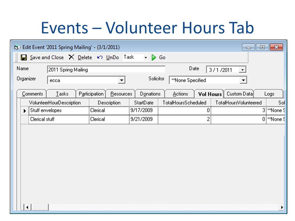 Events – Volunteer Hours Tab
