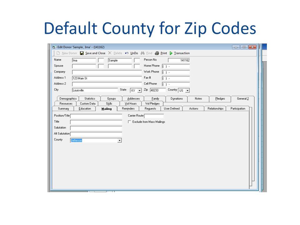 Default County for Zip Codes