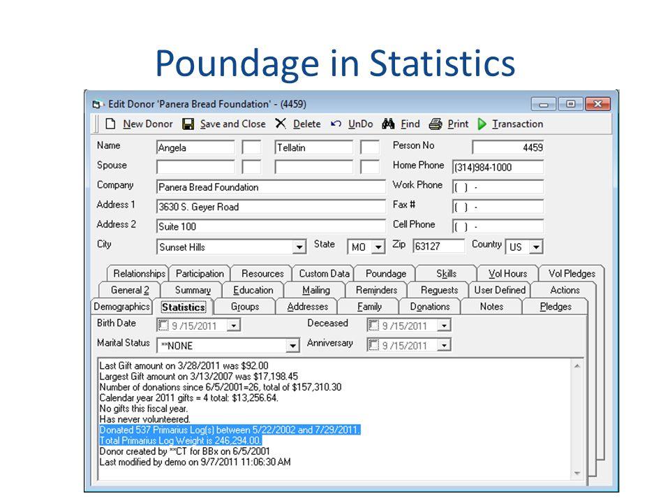 Poundage in Statistics