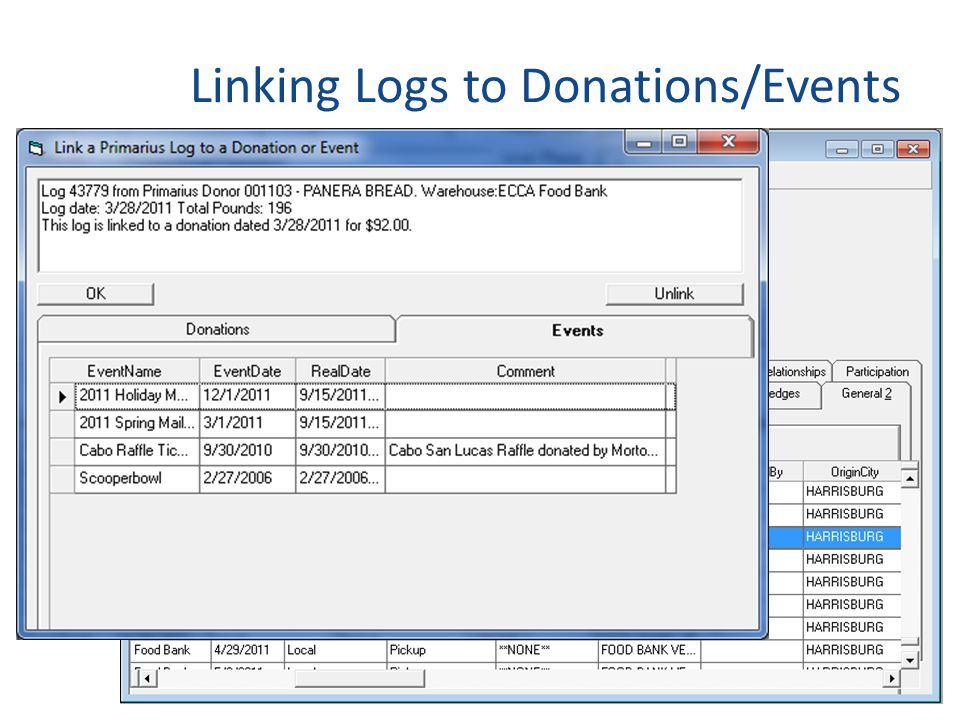 Linking Logs to Donations/Events