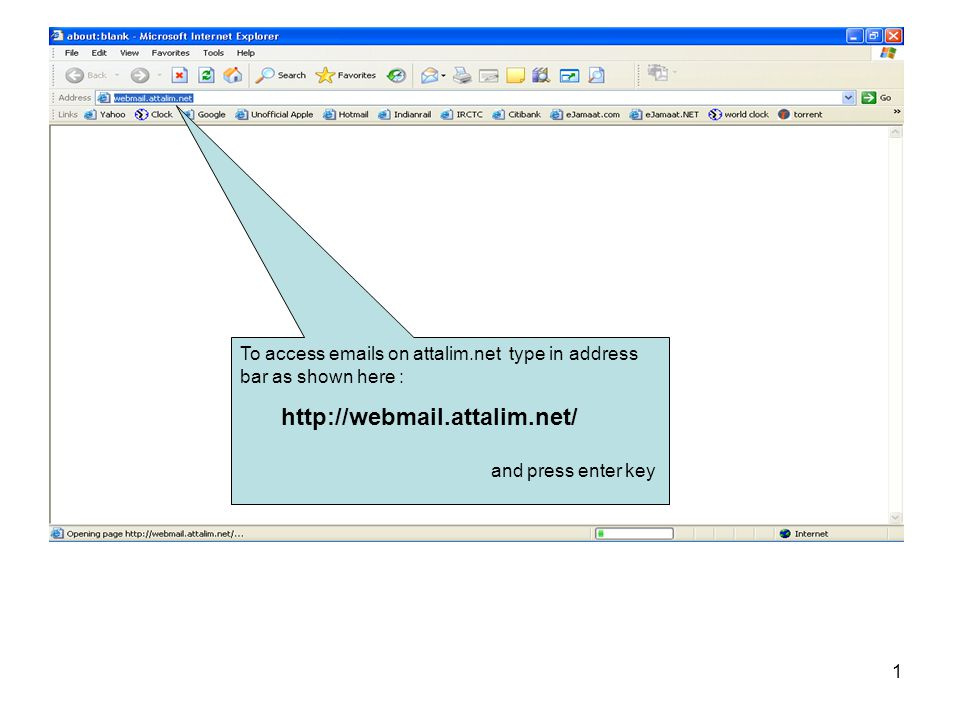 To access emails on attalim.net type in address bar as shown here :