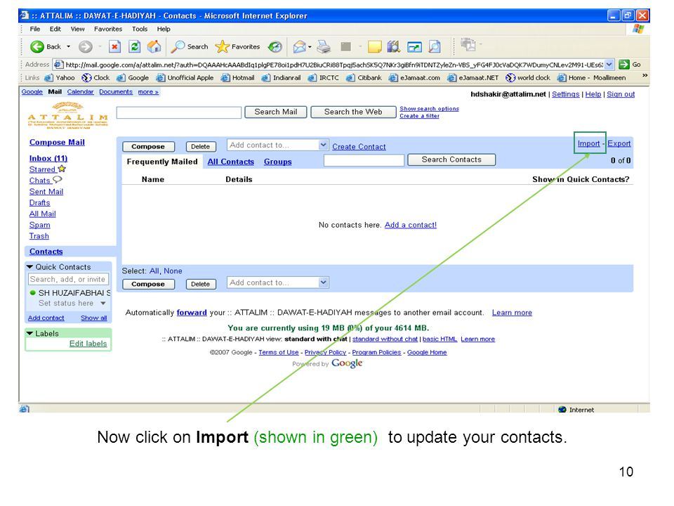 Now click on Import (shown in green) to update your contacts.