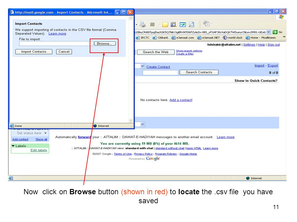 Now click on Browse button (shown in red) to locate the