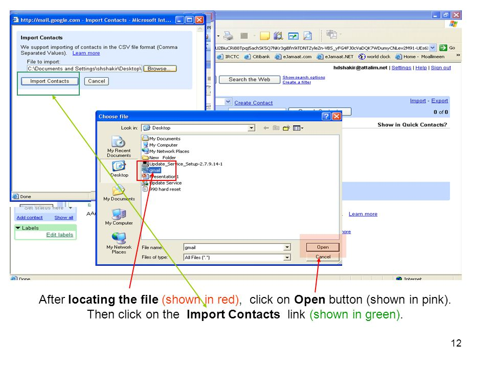 Then click on the Import Contacts link (shown in green).