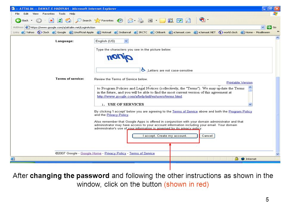 After changing the password and following the other instructions as shown in the window, click on the button (shown in red)