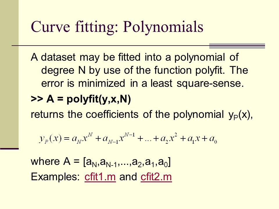 Curve fitting: Polynomials