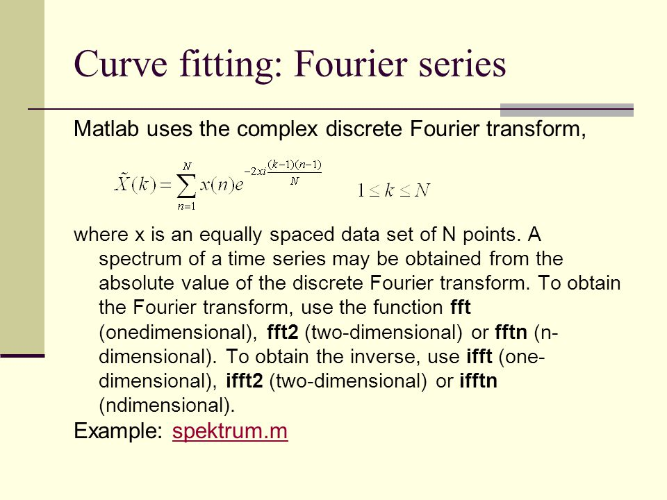 Curve fitting: Fourier series