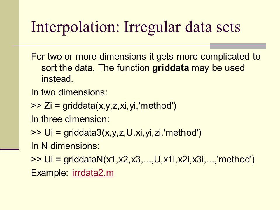 Interpolation: Irregular data sets