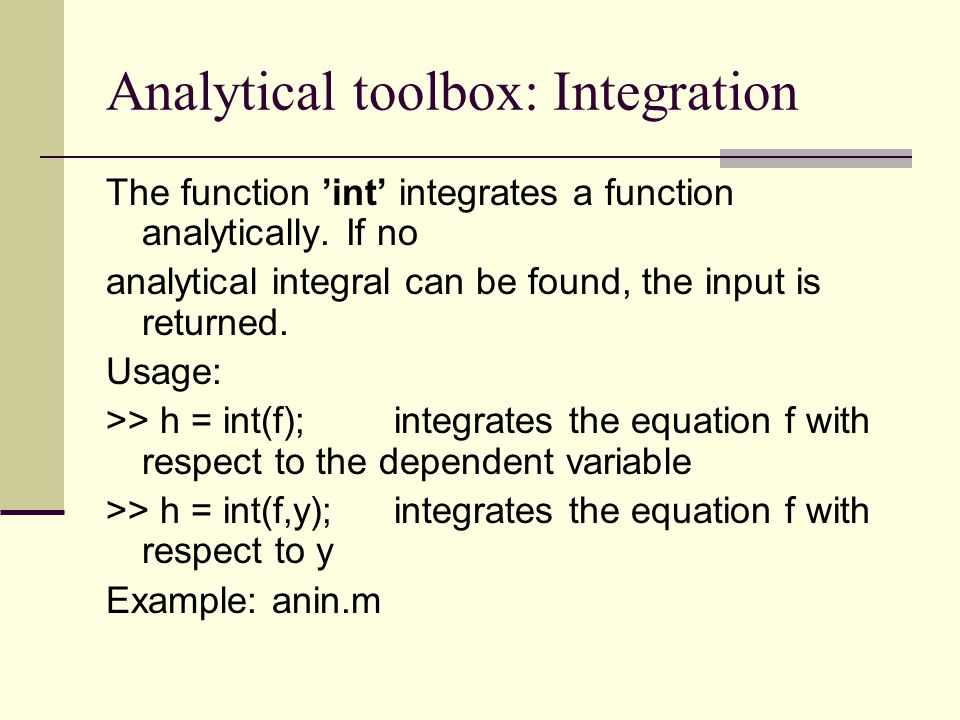 Analytical toolbox: Integration