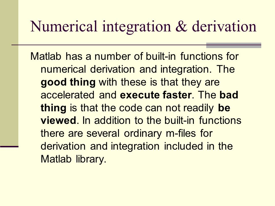 Numerical integration & derivation